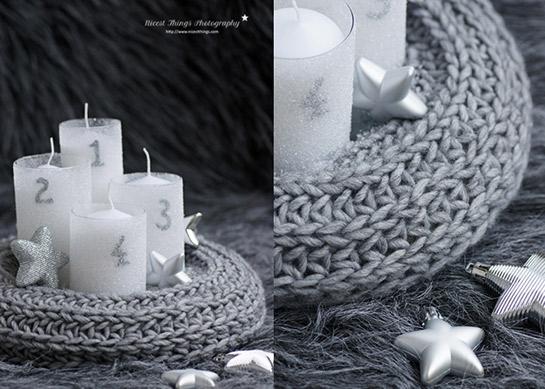 gestrickter adventskranz diy love. Black Bedroom Furniture Sets. Home Design Ideas