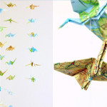 Origami-Kraniche aus Landkarten