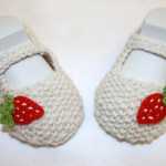 Ballerina-Babyschuhe mit Erdbeeren