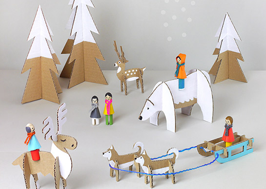 Winter wunderland aus pappe papier diy love - Winterlandschaft deko ...