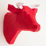 3D Papier-Kuh als Wanddeko