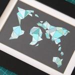 Mosaikweltkarte aus Farbwahlkarten