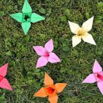 Faltanleitung für Origami-Blüten